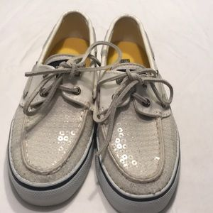 SPERRY TOPSIDER Sequin Boat Shoes Sz 5 Off White